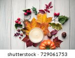 autumn leaves on wooden... | Shutterstock . vector #729061753