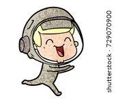 happy cartoon astronaut | Shutterstock .eps vector #729070900