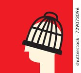 head in the cage as a symbol... | Shutterstock .eps vector #729073096