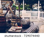 vintage fishing equipment... | Shutterstock . vector #729074440