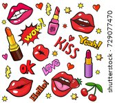 pop art style background with... | Shutterstock .eps vector #729077470