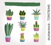 set of cactus and succulents in ... | Shutterstock .eps vector #729078340