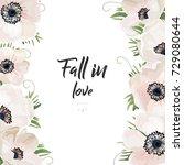 vector floral card watercolor... | Shutterstock .eps vector #729080644