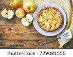 homemade apple pie on plate ... | Shutterstock . vector #729081550