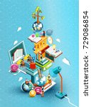 a tower of books with reading... | Shutterstock .eps vector #729086854