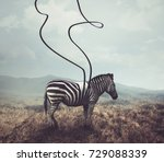 a surreal image of a zebra and... | Shutterstock . vector #729088339