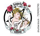 girl  angel  sin  alcohol   Shutterstock . vector #729090790