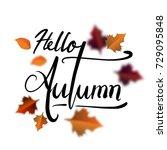 hello autumn hand lettering... | Shutterstock .eps vector #729095848
