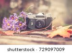 Old Camera On Wooden Background ...