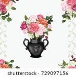 rose vase  rose pattern vector  ... | Shutterstock .eps vector #729097156