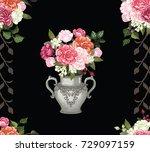 rose vase  rose pattern vector  ...   Shutterstock .eps vector #729097159