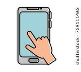 hand user with smartphone... | Shutterstock .eps vector #729111463