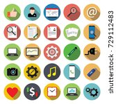miscellaneous flat icon set on... | Shutterstock .eps vector #729112483