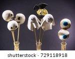 funny cake pops for halloween | Shutterstock . vector #729118918