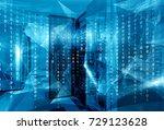 fantastic symmetric data center ... | Shutterstock . vector #729123628