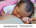 newborn holding mom hand while... | Shutterstock . vector #729129274