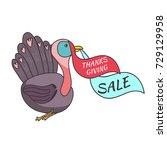 cute cartoon thanksgiving... | Shutterstock .eps vector #729129958
