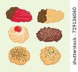 italian cookies vector | Shutterstock .eps vector #729136060