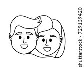 line couple head together with... | Shutterstock .eps vector #729139420