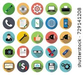 miscellaneous flat icon set on... | Shutterstock .eps vector #729141208