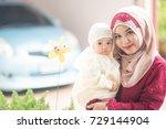 muslim indonesian family mom... | Shutterstock . vector #729144904