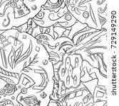 seamless mehndi vector pattern. ...   Shutterstock .eps vector #729149290