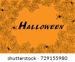 halloween spider web and... | Shutterstock .eps vector #729155980