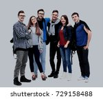 happy young group of people... | Shutterstock . vector #729158488