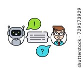 chatbot concept. man chatting... | Shutterstock .eps vector #729173929
