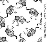 seamless pattern of hand drawn... | Shutterstock .eps vector #729174994