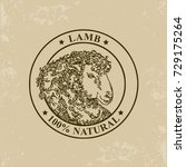 lamb label. vector illustration. | Shutterstock .eps vector #729175264