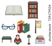 a set of icons with books. seth ... | Shutterstock . vector #729179524