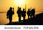 army soldiers with rifles... | Shutterstock . vector #729181396