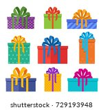 set of christmas gifts boxes in ... | Shutterstock .eps vector #729193948