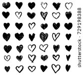 set of hand drawn heart.... | Shutterstock .eps vector #729198388