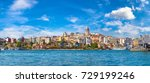 cityscape with galata tower and ... | Shutterstock . vector #729199246