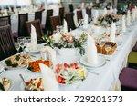 wedding banquet | Shutterstock . vector #729201373