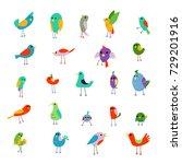 cartoon colorful little birds... | Shutterstock .eps vector #729201916