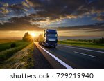 blue truck driving on the... | Shutterstock . vector #729219940