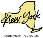hand drawn new york state... | Shutterstock .eps vector #729227236