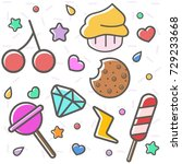 set of sweet and cute elements... | Shutterstock .eps vector #729233668
