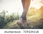 hiking shoes in action on a... | Shutterstock . vector #729234118
