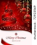 christmas tree with stars and... | Shutterstock .eps vector #72923569