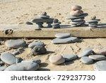 flat rocks made into inuit...   Shutterstock . vector #729237730