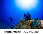 wide angle underwater landscape.... | Shutterstock . vector #729242800