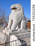 Big Sitting Stone Lion Behind...