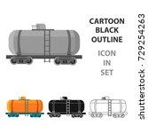 oil tank car icon in cartoon... | Shutterstock .eps vector #729254263