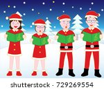 christmas concert with family. | Shutterstock .eps vector #729269554