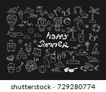 happy summer doodle | Shutterstock .eps vector #729280774