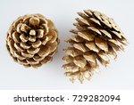 gold pinecone. golden christmas ... | Shutterstock . vector #729282094